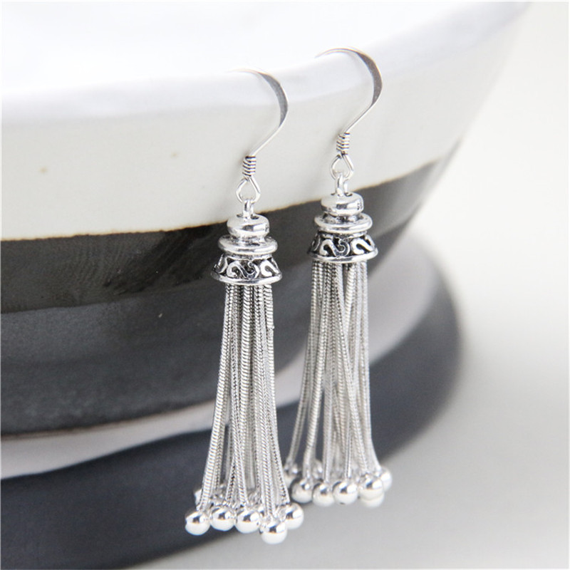 JINSE S925 Pure Silver Long Tassels Earrings for Women Bohemian Lovely Bead Charms Earring Fashion Jewelry Bijoux Femme TYC219 chic tassels bead knotted bohemian slender waist rope for women