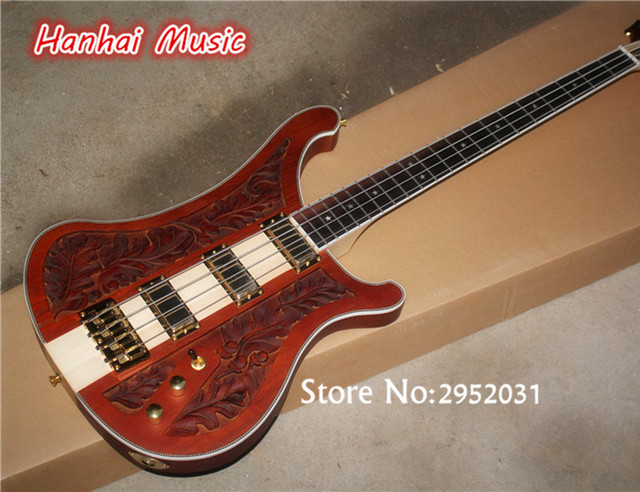 Free Shipping 4 String Bass GuitarCraved Flower On BodyNeck