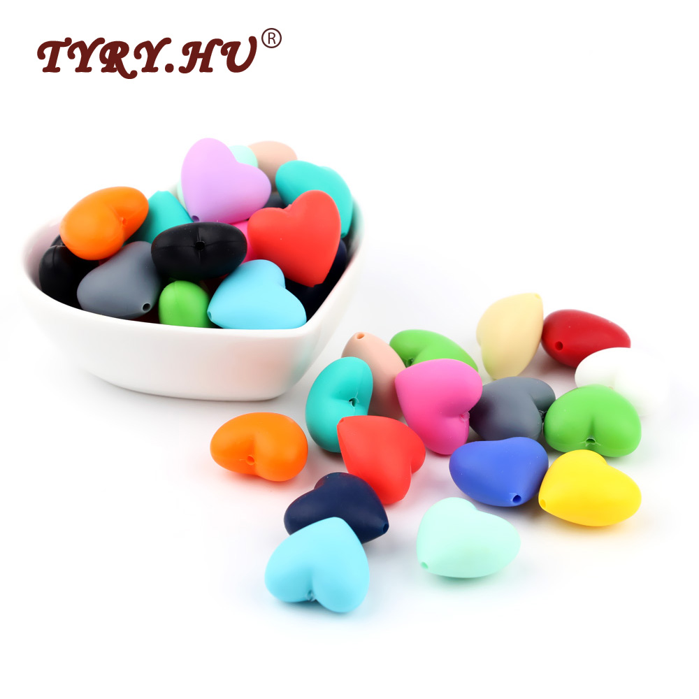TYRY.HU 10Pcs Heart Silicone Teether Beads Food Grade Baby Girl DIY Jewelry Bracelet Crib Toy Baby Teething Nurse Teether Beads