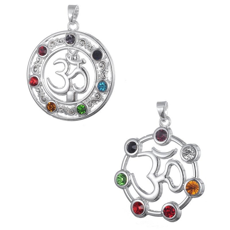 my shape Hindu Yoga Symbol Om Aum Ohm 7 Chakra Rhinestones Necklace Pendant Buddha Infinity Feather Crystal Jewelry 6pcs