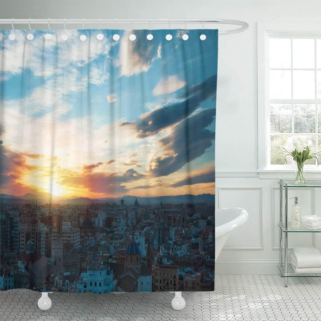 Us 17 23 31 Off Fabric Shower Curtain With Hooks Colorful Evening Panoramic View Of Valencia City Center From Tower Cathedral Spain In Shower