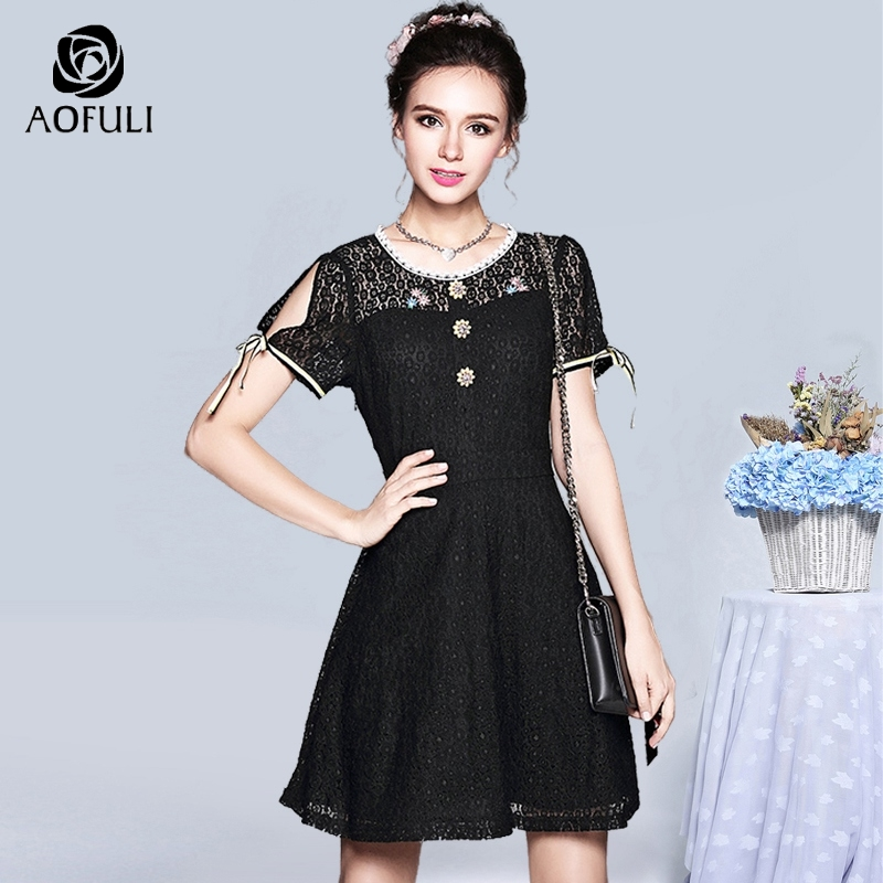 b15347b4d8f AOFULI S- XXXL 4XL 5XL Summer black lace dress with jewelry buttons plus  size women clothing short sleeve A-line sundress 5255