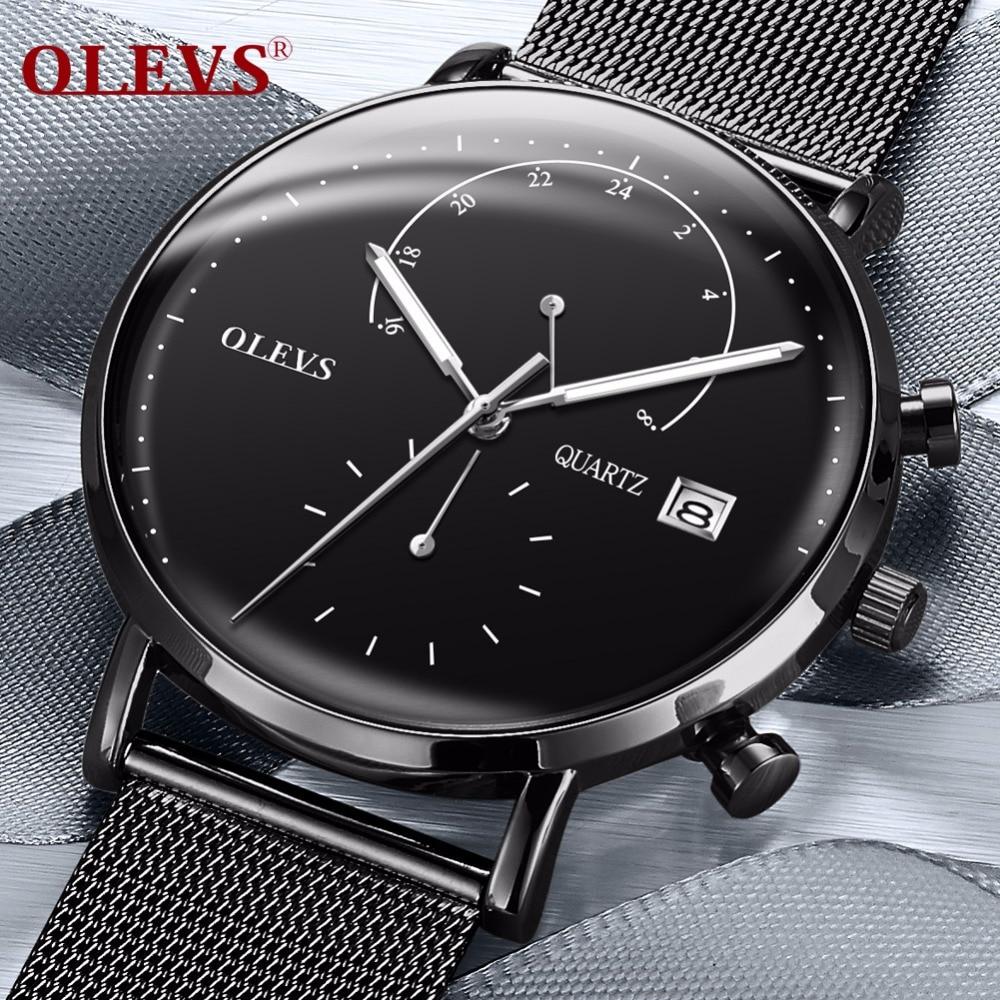 OLEVS De Luxe Montre Multifonction Hommes Calendrier Lumineux Mains Horloge Mâle Montres Maille Bracelet En Acier Montres relogio masculino
