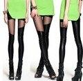 2017 Chegada New Hot versão Coreana da nova malha irregular costura Calças Leggings de Couro nove Leginy Atacado