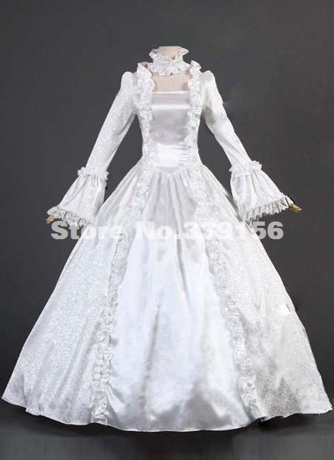 Brand New Noble White Long Sleeve Lace 18th Century Medieval Victorian Dress/Victorian Ball Gowns/Party Dresses