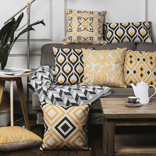 Nordic 2017New Modern Pillow Cover Yellow theme Geometry Pattern Linen Pillow Case Office Sofa Cushion Cover Home Decorative