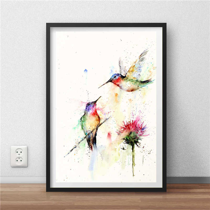 Hummingbirds Watercolor Wall Art Canvas Poster And Print Canvas Painting Decorative Picture For Bedroom Home Decor Framework HD