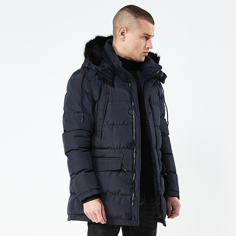 New Slim Long Winter Parkas Jacket Men Casual Warm Thick Coat with Hooded Mens Clothing Plus Size