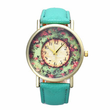 Women watch Pastorale Floral Women Leather Band Analog Quartz Dial Wrist Watch relogio feminino dropshipping free shipping  #60