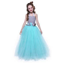 Children Sleeveless Floor Length Junior Girls Prom Dresses Formal Wear Clothes Party Age 10 with Flower Sash