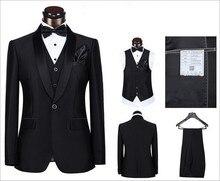 Brand New Groom Tuxedo Black Groomsmen Shawl Satin Lapel Wedding/Dinner Suits Best Man Bridegroom (Jacket+Pants+Tie+Vest)B339