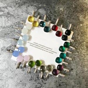 Image 5 - Moda damska Multicolor Faceted Crystal Candy kwadratowe kolczyki srebrny kolor różany złota cyrkonia kamienie kropla wody kolczyki
