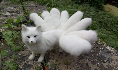 creative simulation white fox model plastic&fur walking nine-tails fox doll gift 46x23cm a170