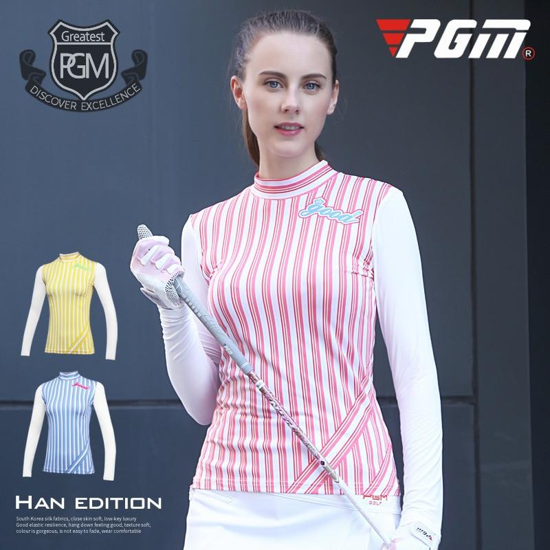 PGM new autumn winter golf Sportswear ladies long sleeved T-shirt vertical stripes Golf tight elastic sports clothing