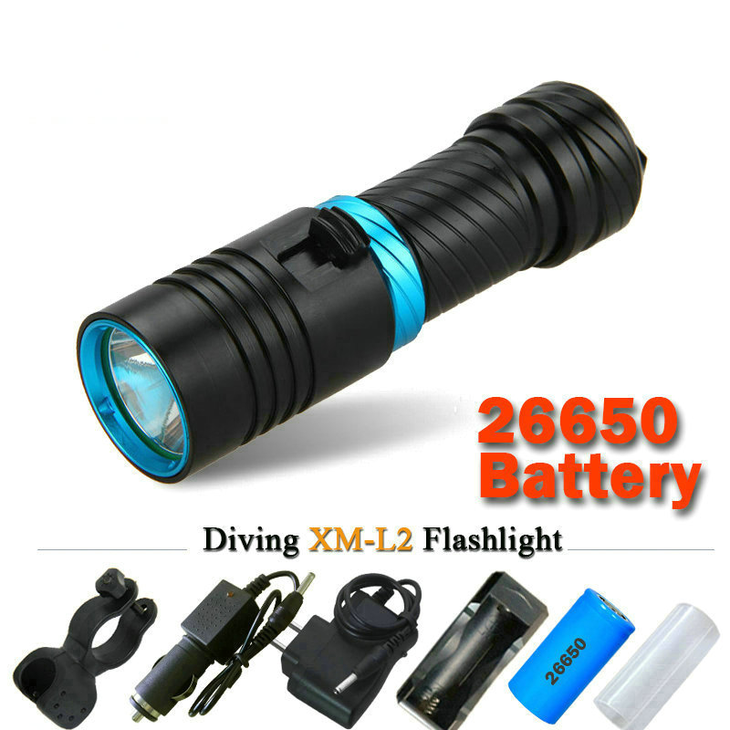 CREE XM-L2 scuba flashlights led xml diving flashlight underwater torch light  diver 18650 OR 26650 rechargeable batteries boruit 10000lm underwater 200m flashlight 5 xml l2 led scuba diving flash light torch lantern 18650 or 26650 battery