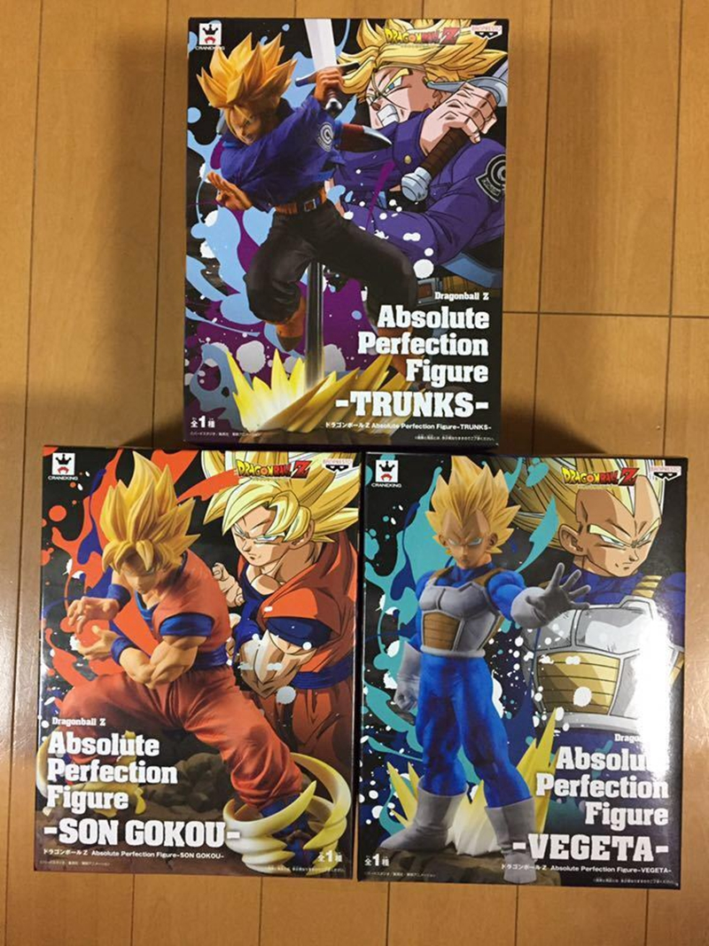 WSTXBD BANPRESTO Original Dragon Ball Z DBZ Absolute Perfection Figure SSJ Vegeta Trunks Goku Figurals Model Brinquedos VOL.03 wstxbd banpresto original dragon ball z dbz smsp goku manga color pvc figure toys figurals model dolls brinquedos
