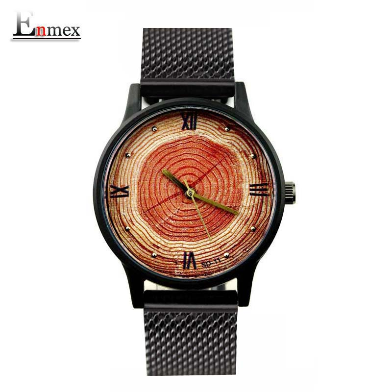 2017 lady gift Enmex tree ring concept 3D Annual ring face wristwatch creative design stainless steel fashion quartz watches 2017 gift for lady enmex simple design pure white wristwatch fresh and clean style lovely lady fashion clock quartz watches