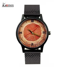 2017 lady gift Enmex tree ring concept 3D Annual ring face wristwatch creative design stainless steel fashion quartz watches