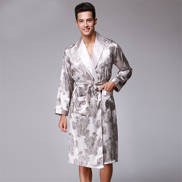 Men Robe 2018 Spring New Kimono Bathrobe Gown Faux Silk Robes Long Sleeve  Home Clothes Male Sleewear Bath Geisha L XL XXL 68695404a