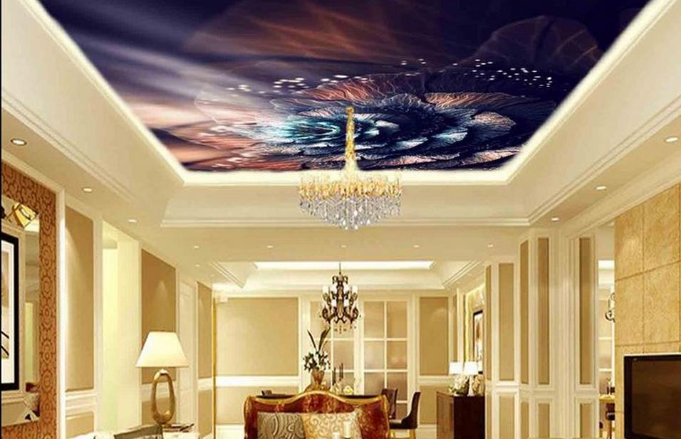 custom 3d ceiling wall papers home decor living room Rose pattern 3d ...