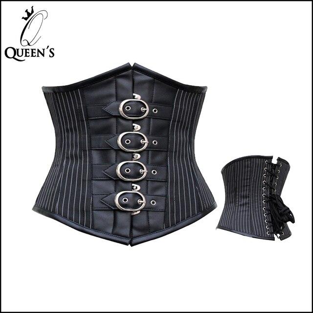 6d2850bbb New Sexy Women Vertical Stripes Black Leather Underbust Corset Belt Plus  Size Corset Top Women Corsets Bustier Corselet