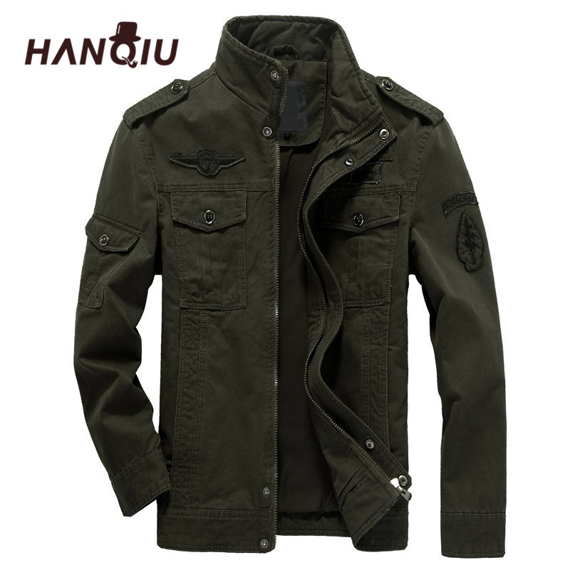 HANQIU Brand M-6XL Bomber Jacket Men Military Clothing 2019 Spring Autumn Male Coat Solid Loose Army Military Jacket