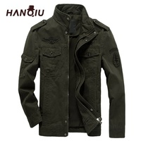 HANQIU Brand M 6XL Bomber Jacket Men Military Clothing 2019 Spring Autumn Male Coat Solid Loose Army Military Jacket