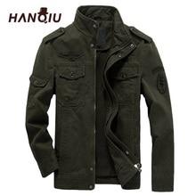 HANQIU Chaqueta Bomber de M 6XL para hombre, ropa militar, abrigo militar, liso, holgado, para primavera y otoño, 2020