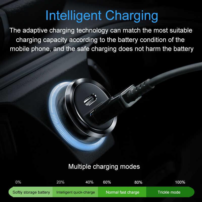 Elough 30 W de carga rápida 4,0 3,0 PD rápido cargador para iPhone Samsung Xiaomi Huawei teléfono móvil Mini dual USB cargador de coche tipo C