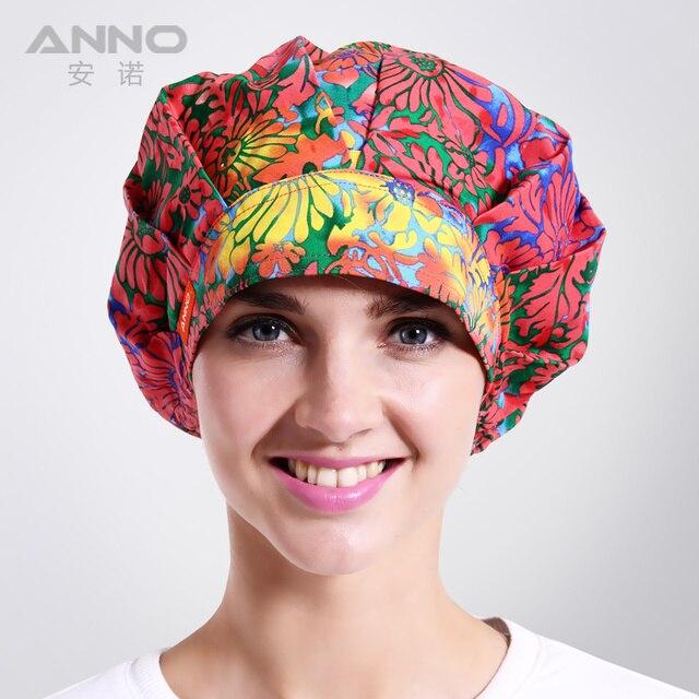 Crisantemo rojo Bon Cap sombreros Mujer enfermeras matorrales matorrales sombrero adecuado para el pelo largo con ajustable tamaño gorros quirúrgicos