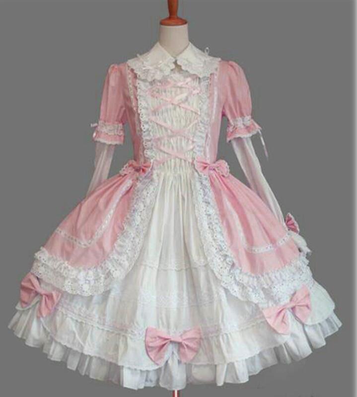Lolita robes gothique princesse Pouf robe Lolita Costume à manches longues dentelle Style Vintage Cosplay robe livraison gratuite