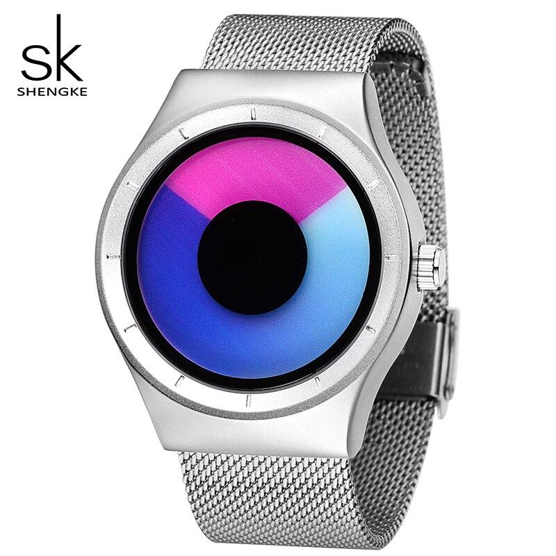 Shengke Creative Sports Quartz Women Girl Watch Stainless Steel Men Boy Watch Reloj Mujer 2019 SK Creative Women Quartz Watch