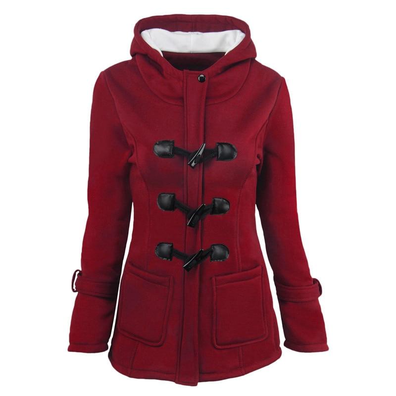 Women Basic Jackets 2018 Causal Coat Spring Autumn Women's Overcoat Zipper Horn Button Outwear Jacket Female Hooded Coat  S-5XL