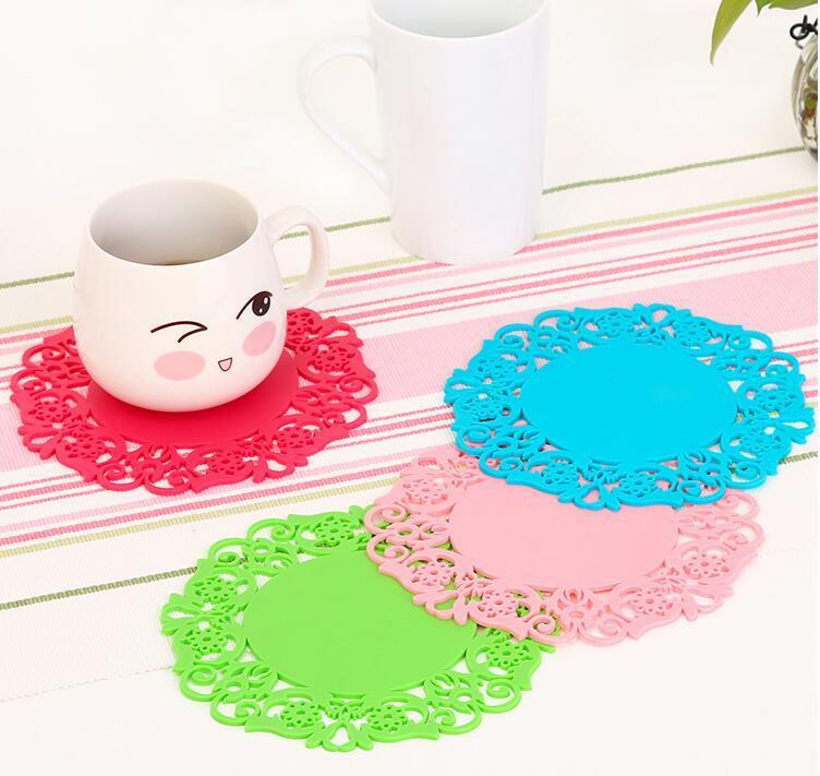 BPLace Flower Hollow Doilies Silicone Coaster Coffee Table Cup Pad Placemat Kitchen Accessories Cooking ToolsBeautifu FK-CZD