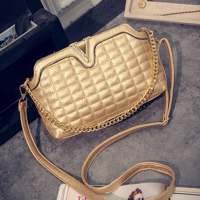 placeholder Fashion V Women Small Messenger Bags Chain Plaid Shoulder Bags  Shell Gold Silver Black Crossbody Bags 9c4ee39062fd4