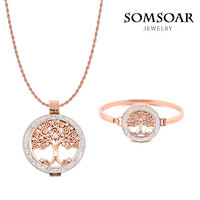2017 High Quality Stainless Steel Tree Of Life Double Crystal Necklace Bracelet Set With 80cm Soprano