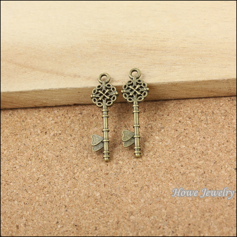 Zinc Alloy Pendants Charms Vintage Bronze Love Heart Shaped Jewelry Crafts 40pcs