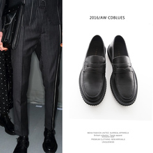 New Spring And Autumn Fashion Men Black Genuine Leather Shoes Male Slip On Low Help Casual Wave Point Loafers Flats Shoes