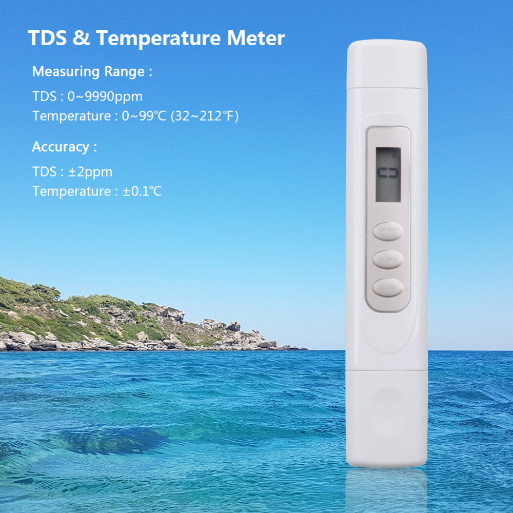 New LCD Digital TDS 3 TDS Instrument Filter Pen Temperature PPM Tester, 0-9999 PPM Tester Set Filter Purity Like Xiaomi Tds