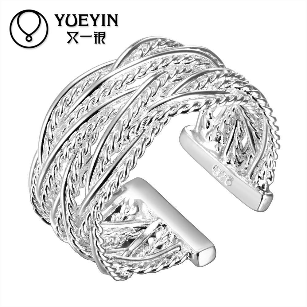 New Fashion Silver Ring Wedding Jewelry,adjustable Size Ring For Men And  Women Hollow Weave