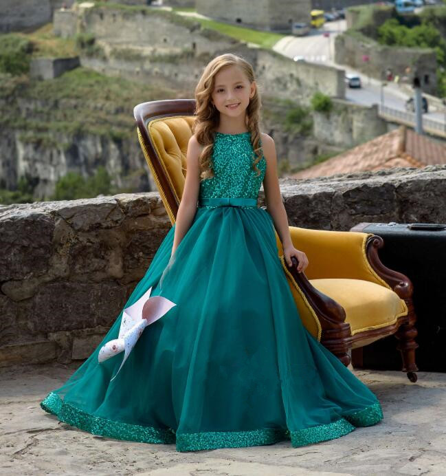 New Emerald green sequins top A-line Flower Girl Dress for Birthday Holiday pageant junior Bridesmaid wedding and party gown недорого
