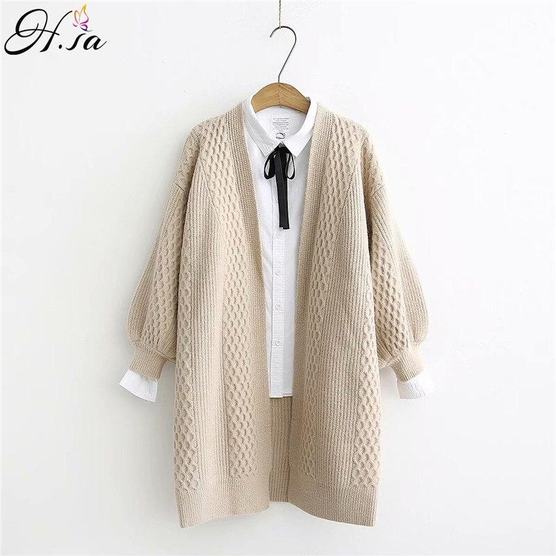 H. SA, весенний женский свитер , кардиганы , 2019, v образный вырез, рукав  фонарик , открытая строчка, свободный свитер , куртка , дешевая одежда, женское вязаное пальто|Кардиганы|   | АлиЭкспресс