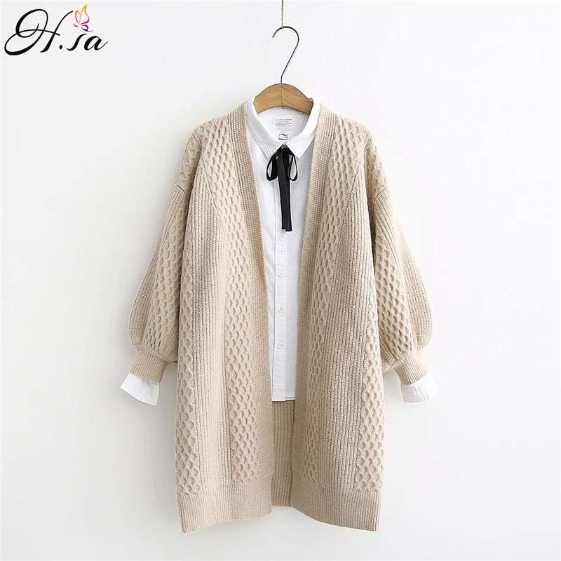 H.SA Spring Sweater Cardigans Women 2020 V Neck Lantern Sleeve Open Stitch Loose Sweater Jacket Cheap Clothes Female Knit Coat