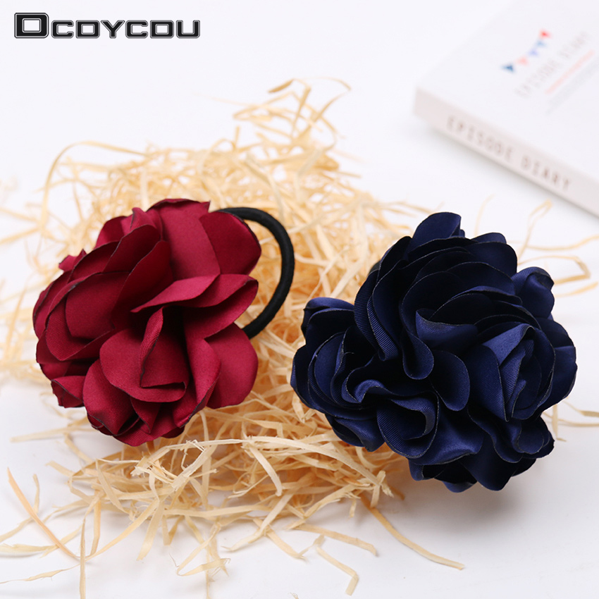 1PC Beautiful Fabric Flower Hair Rose Hair Band Flower Hair Circle Ponytail Hair Bands Rope Women   Headwear