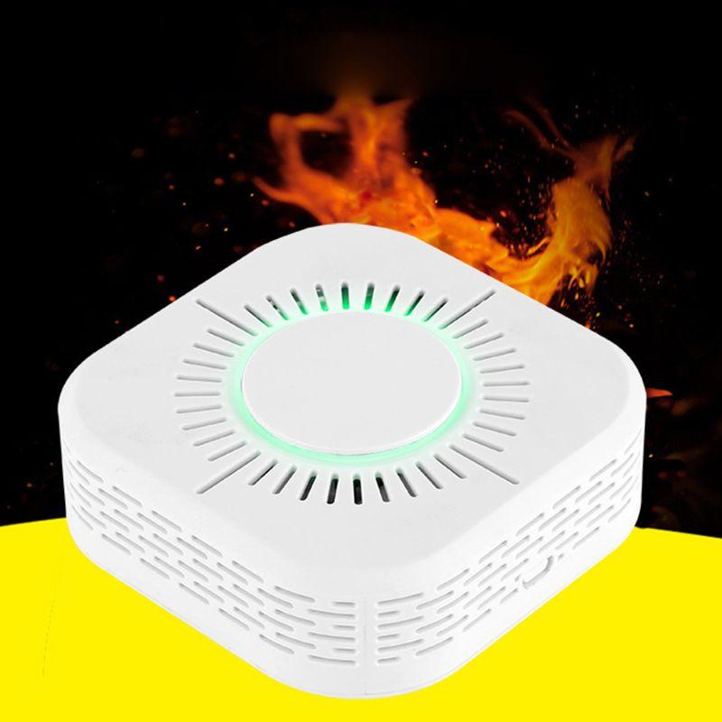 White Smart Wireless WIFI Smoke Detector Fire Alarm Temperature Sensor for Home Security Remote Control Gadgets-# Pakistan