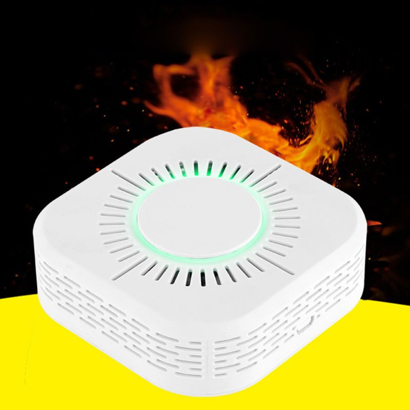 White Smart Wireless WIFI Smoke Detector Fire Alarm Temperature Sensor for Home Security Remote Control Gadgets-#