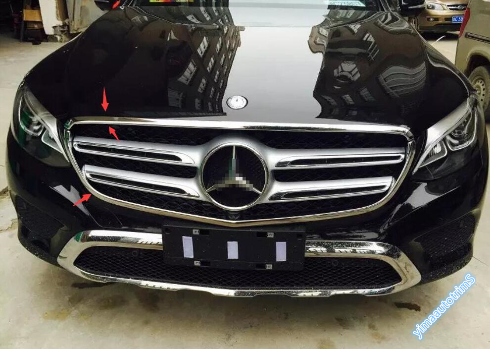 Lapetus Chrome Front Grille Grill Lid Frame Cover Trim Accessories Fit For Mercedes Benz GLC X253 2016 2017 2018 2019 ABS|for mercedes benz|trim cover|front grill cover - title=
