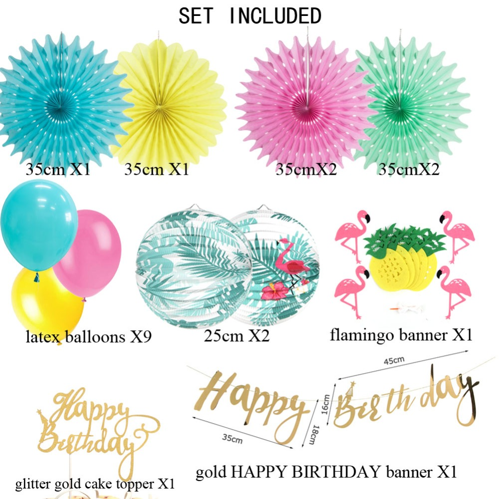 26 Pcs Flamingo Birthday Party Decoration Set Luau Balloons Lanterns Cake Topper 1st Summer Beach Pool Decor 2018 New In DIY Decorations From