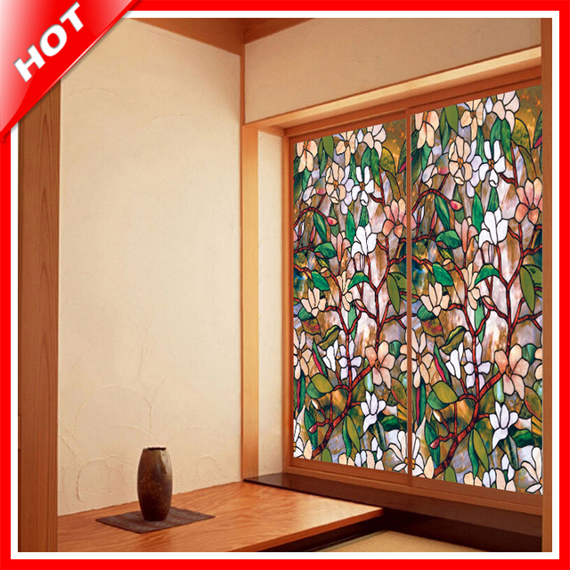 Fashion 45100cm magnolia stained glass film decorative stained glass window film privacy window sticker