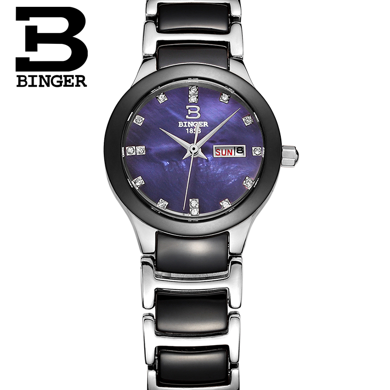 Ceramic watch Fashion Casual Women quartz watches relojes mujer BINGER brand luxury wristwatches Girl elegant Dress clock B-8007 relojes mujer 2016 fashion luxury brand quartz men women casual watch dress watches women rhinestone japanese style quartz watch